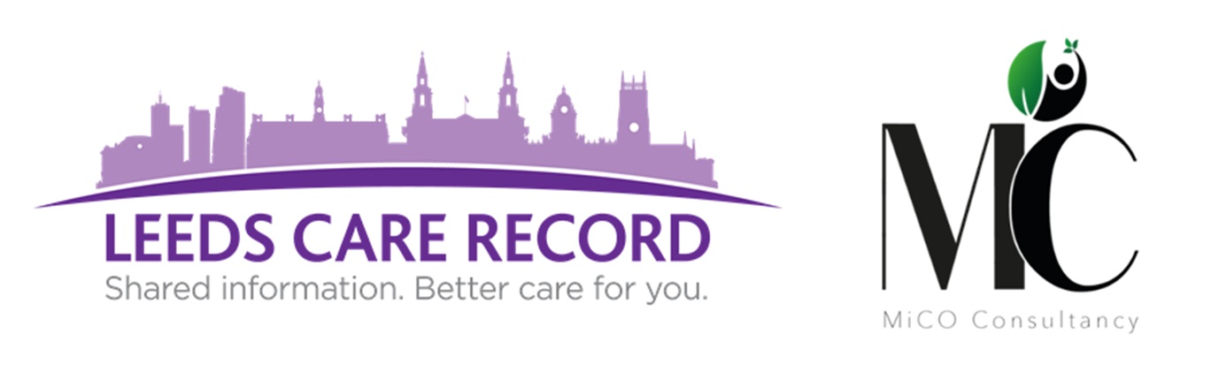 Leeds Care Record logo with MIC consultants logo against a white background